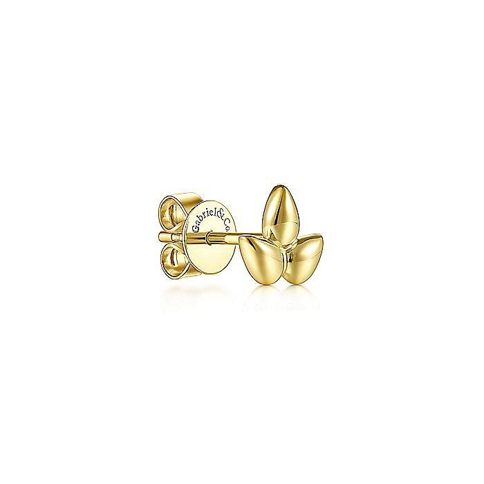 14K Yellow Gold Triple Teardrop Single Stud Earring