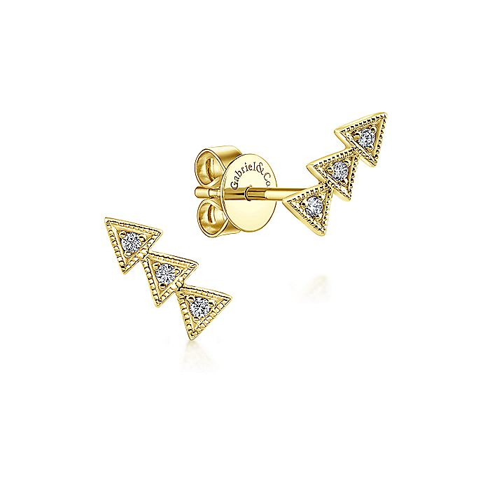 14K Yellow Gold Triple Triangle Station Diamond Stud Earrings