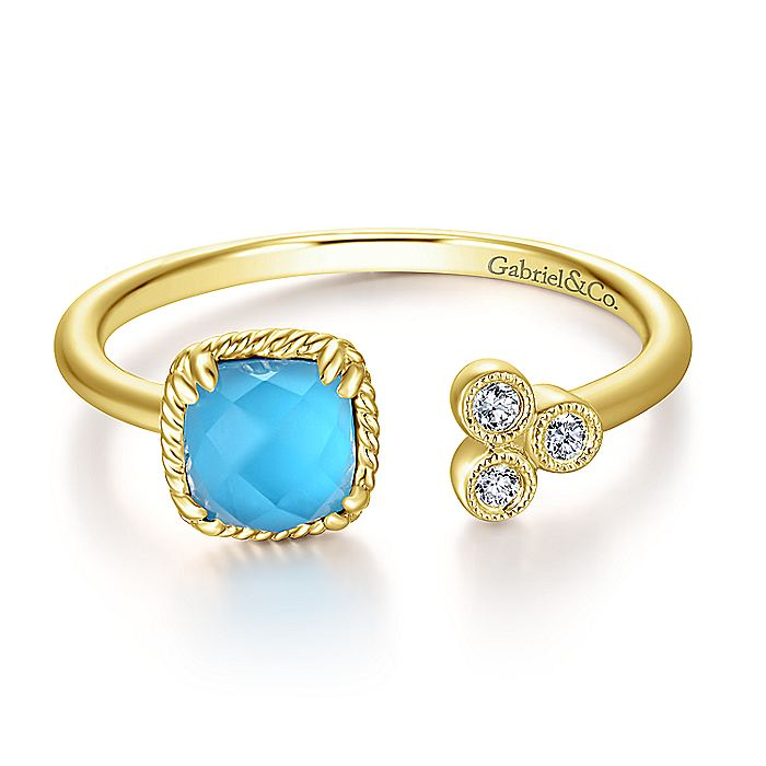 14K Yellow Gold Turquoise Rock Crystal and Diamond Open Wrap Ring