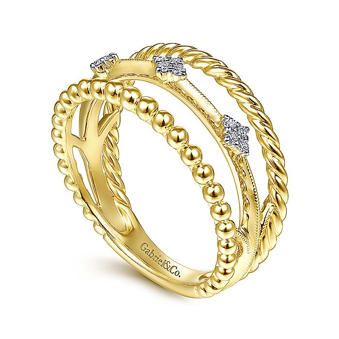 14K Yellow Gold Twisted Beaded TriBand Diamond Ring