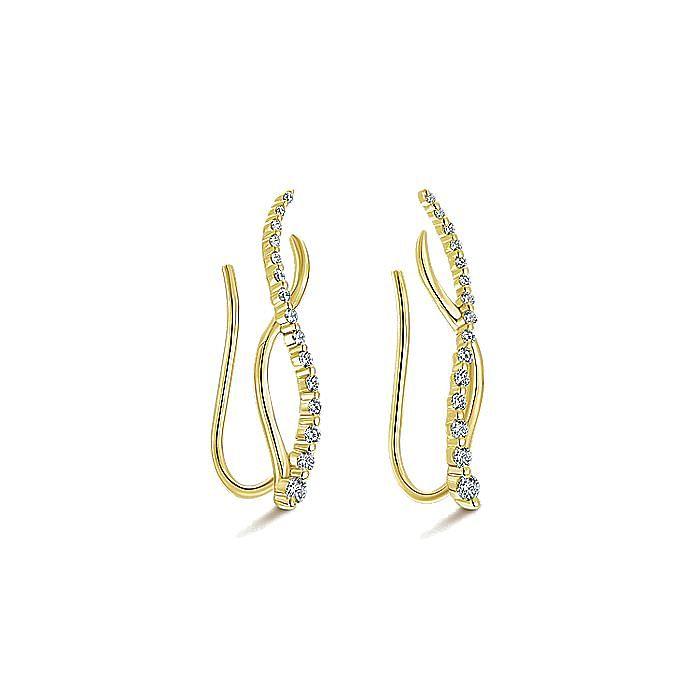 14K Yellow Gold Twisted Diamond Ear Climber Earrings