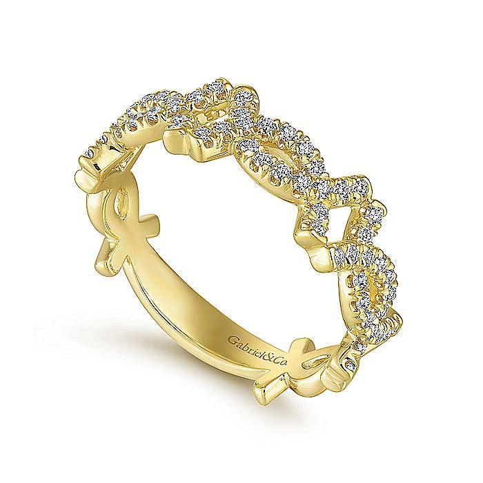 14K Yellow Gold Twisted Diamond Ring