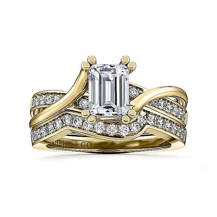14K Yellow Gold Twisted Emerald Cut Diamond Engagement Ring