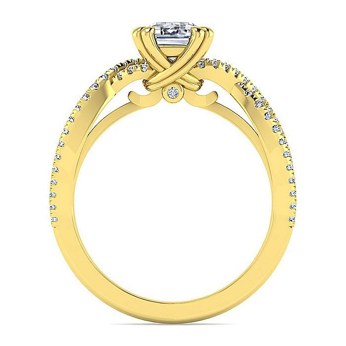 14K Yellow Gold Twisted Emerald Cut Diamond Engagement Ring