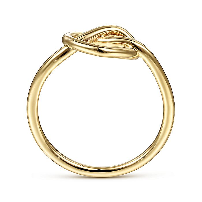 14K Yellow Gold Twisted Heart Pretzel Ring
