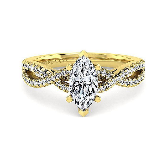 14K Yellow Gold Twisted Marquise Shape Diamond Engagement Ring