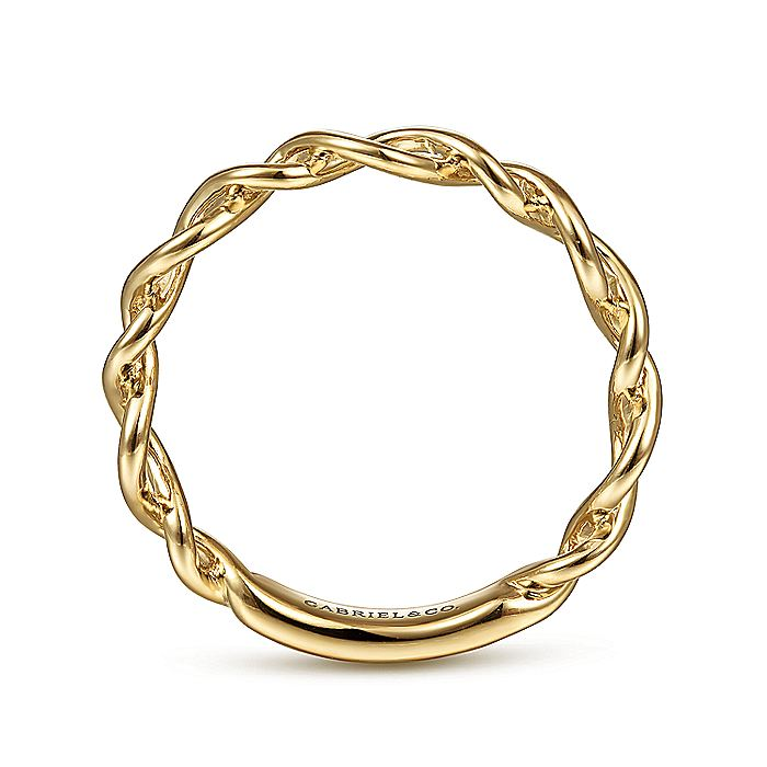 14K Yellow Gold Twisted Metal Stackable Ring