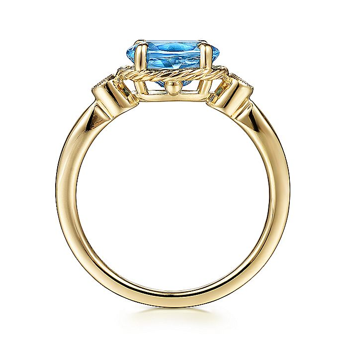 14K Yellow Gold Twisted Oval Swiss Blue Topaz and Diamond Ring