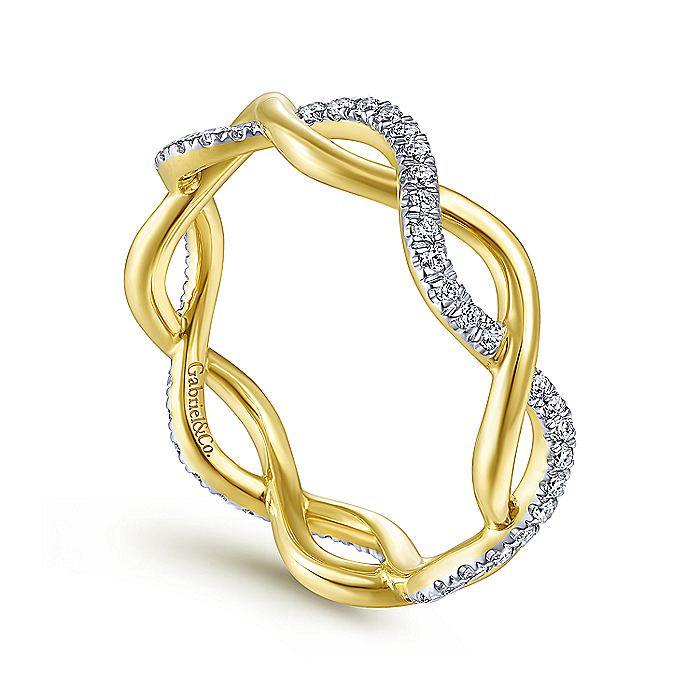 14K Yellow Gold Twisted Pave Diamond Ring