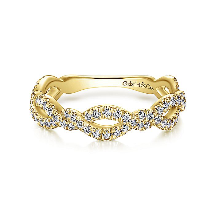 14K Yellow Gold Twisted Pave Diamond Stackable Ring