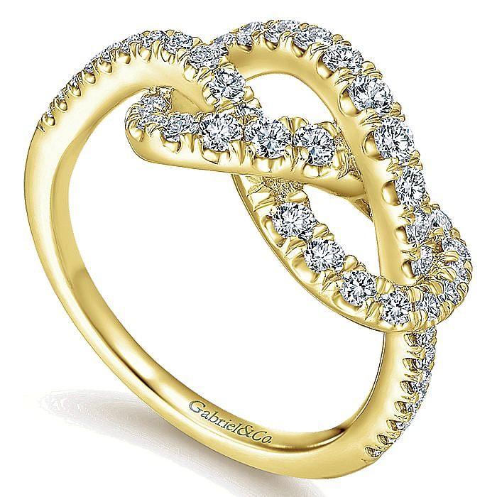 14K Yellow Gold Twisted Pretzel Diamond Ring