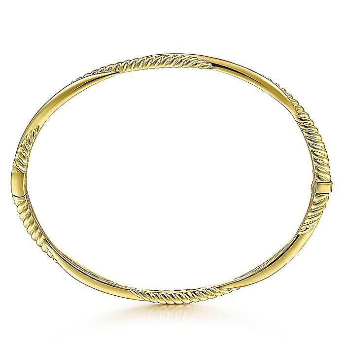 14K Yellow Gold Twisted Rope Bangle Bracelet