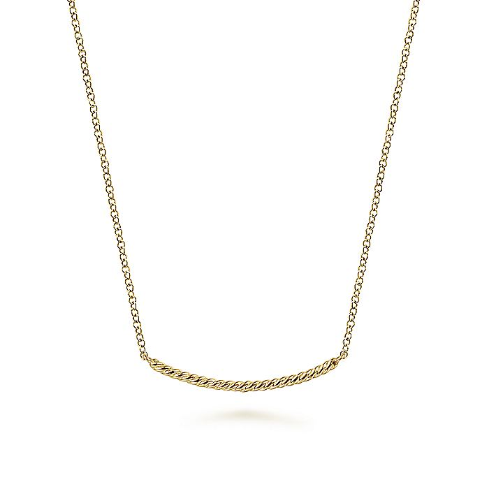 14K Yellow Gold Twisted Rope Curved Bar Necklace