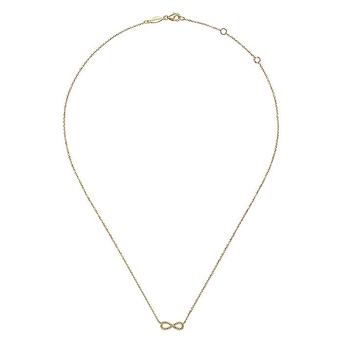 14K Yellow Gold Twisted Rope Infinity Pendant Necklace