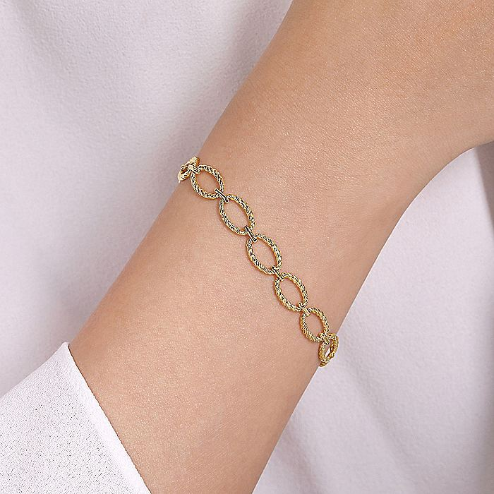 14K Yellow Gold Twisted Rope Oval Link Bracelet