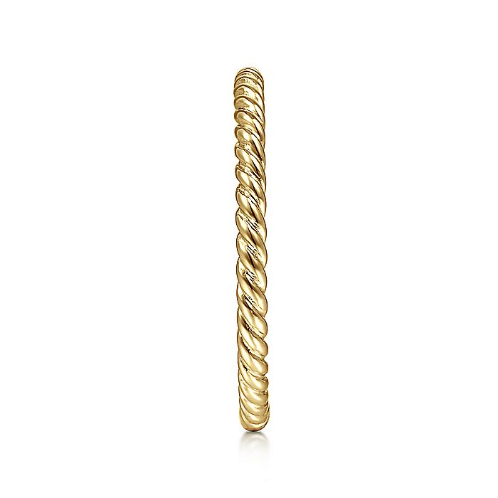 14K Yellow Gold Twisted Rope Texture Stackable Ring