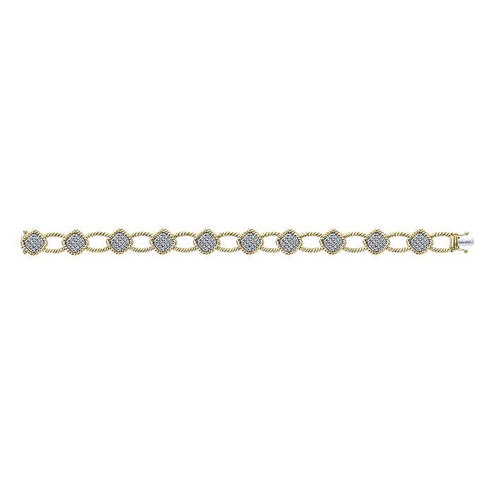 14K Yellow Gold Twisted Rope and Pavé Diamond Station Tennis Bracelet