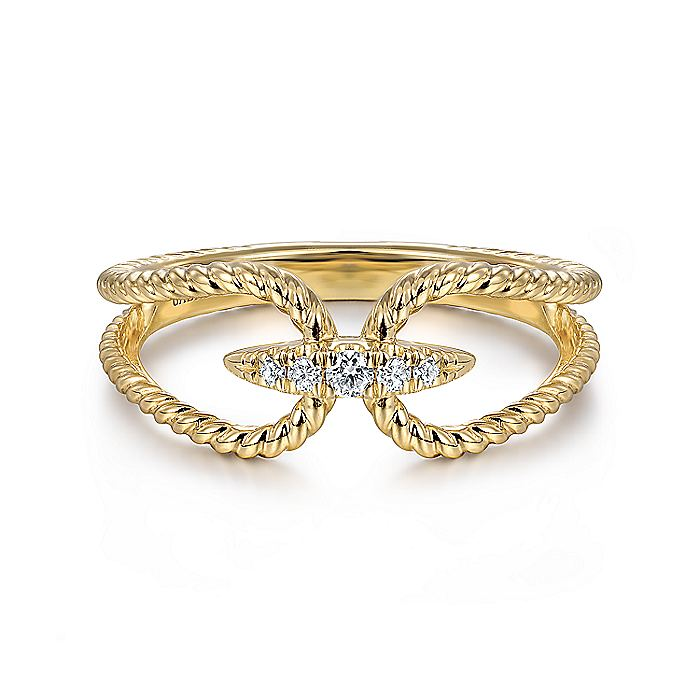 14K Yellow Gold Twisted Rope pave Diamond Connector Ring