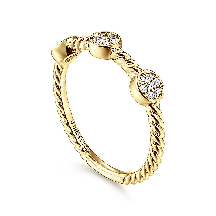 14K Yellow Gold Twisted Round Diamond Stackable Ring