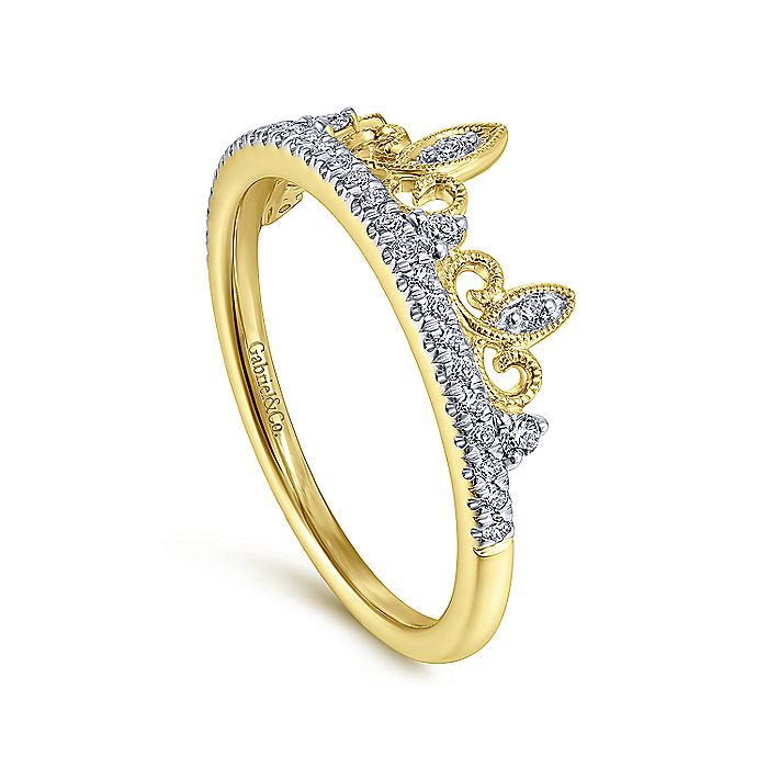 14K Yellow Gold Twisted Spiked Diamond Crown Ring