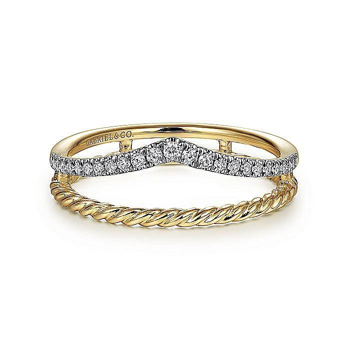 14K Yellow Gold Twisted Split Shank Diamond Ring