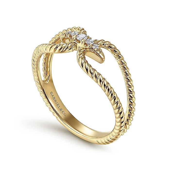 14K Yellow Gold Twisted Split Shank Pavé Diamond Ring