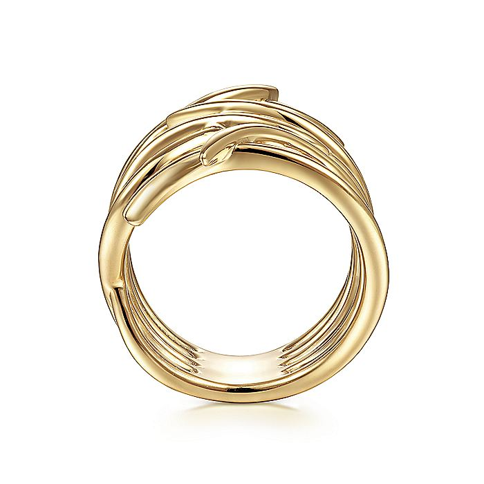 14K Yellow Gold Twisted Vine Statement Ring