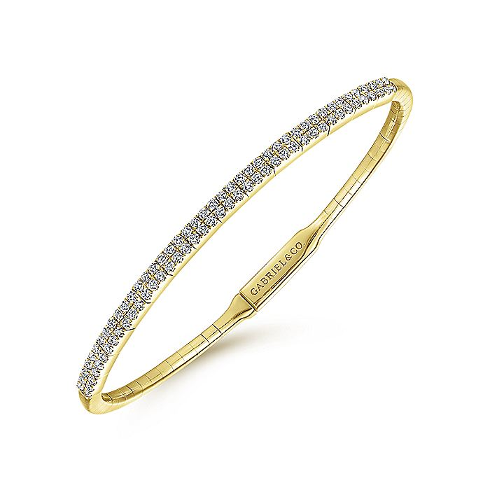 14K Yellow Gold Two Row Diamond Bangle