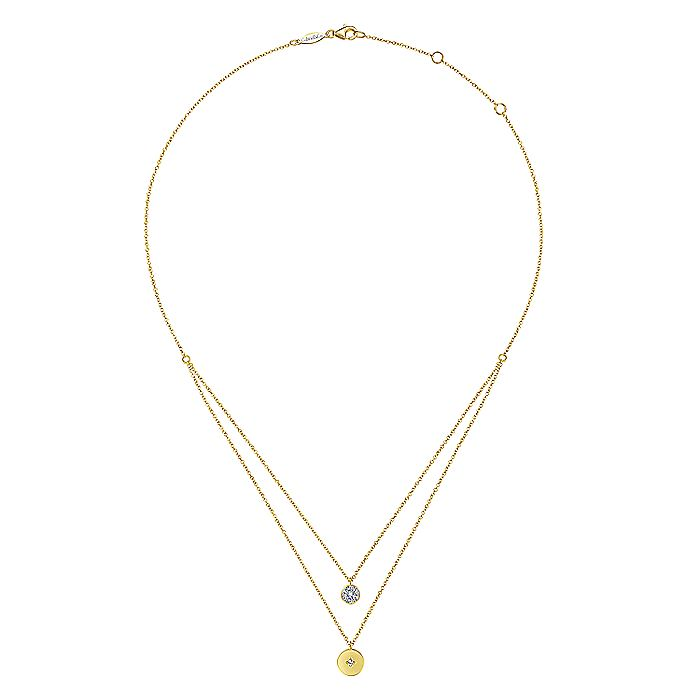 14K Yellow Gold Two Row Round Diamond Cluster and Medallion Pendant Necklace
