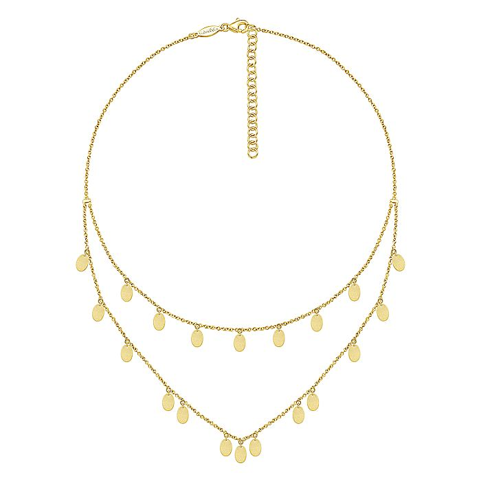 14K Yellow Gold Two Strand Necklace with Oval Shape Drops