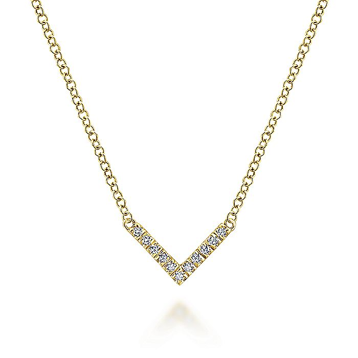 14K Yellow Gold V Shaped Diamond Bar Necklace