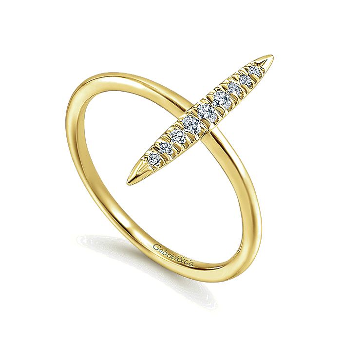 14K Yellow Gold Vertical Diamond Bar Midi Ring