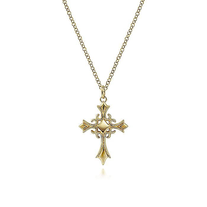 14K Yellow Gold Vintage Inspired Cross Pendant Necklace