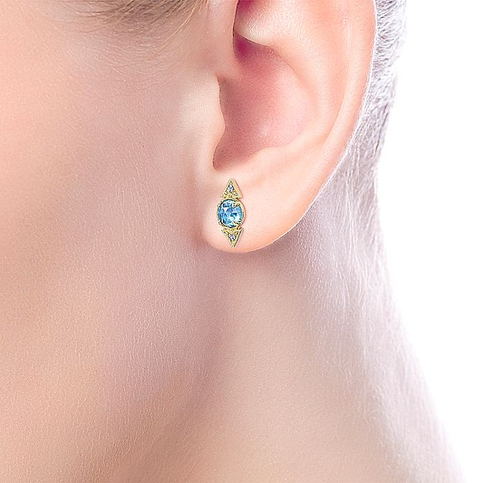 14K Yellow Gold Vintage Inspired Diamond and Round Swiss Blue Topaz Stud Earrings