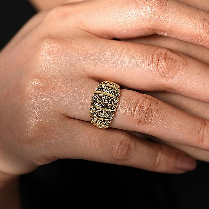 14K Yellow Gold Wide Band Beaded Ring