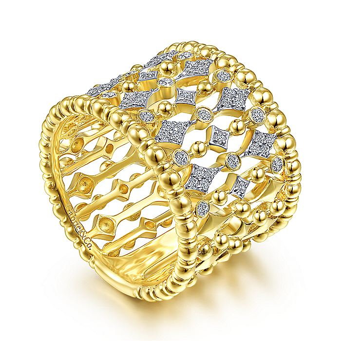 14K Yellow Gold Wide Bujukan Ball and Diamond Statement Ring