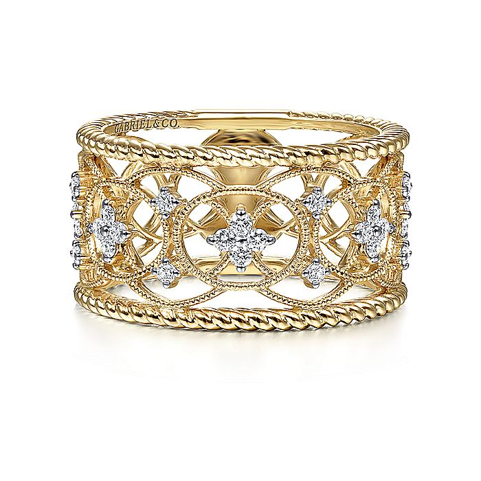 14K Yellow Gold Wide Open Work Diamond Ring with Twisted Rope Edge