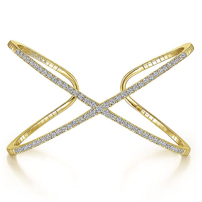 14K Yellow Gold Wide X Diamond Bangle