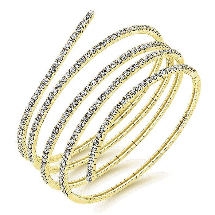 14K Yellow Gold Wraparound Diamond Bangle