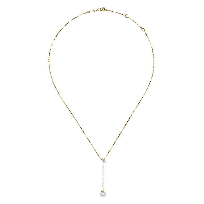 14K Yellow Gold Y Knot Cultured Pearl and Diamond Necklace