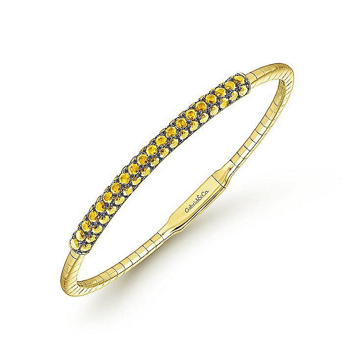 14K Yellow Gold Yellow Sapphire Bangle