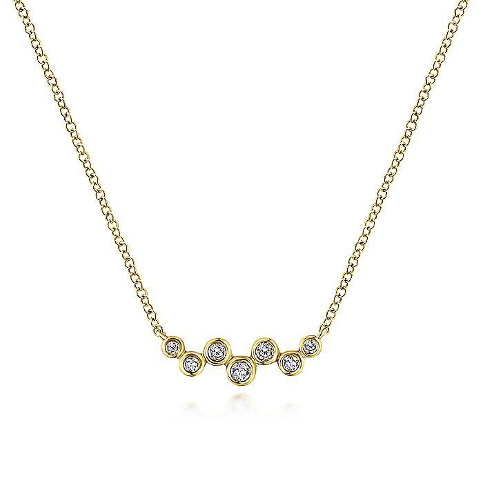14K Yellow Gold Zig Zag Round Diamond Bar Necklace