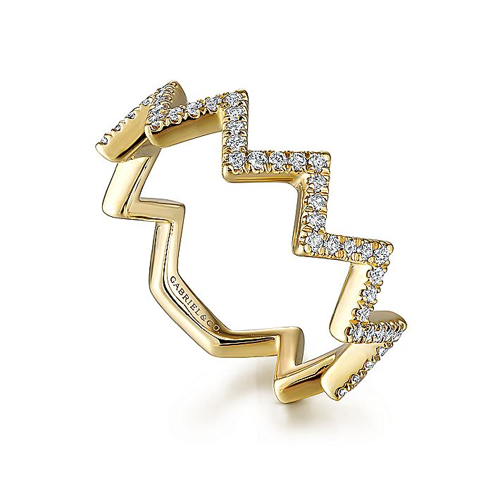 14K Yellow Gold Zig Zag Stackable Diamond Ring