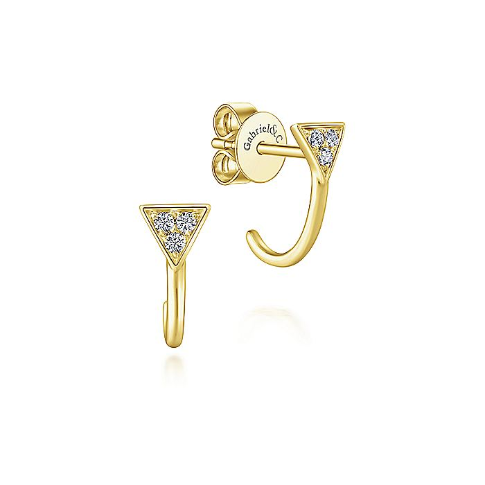 14K Yellow Gold pave Triangle J Back Stud Earrings