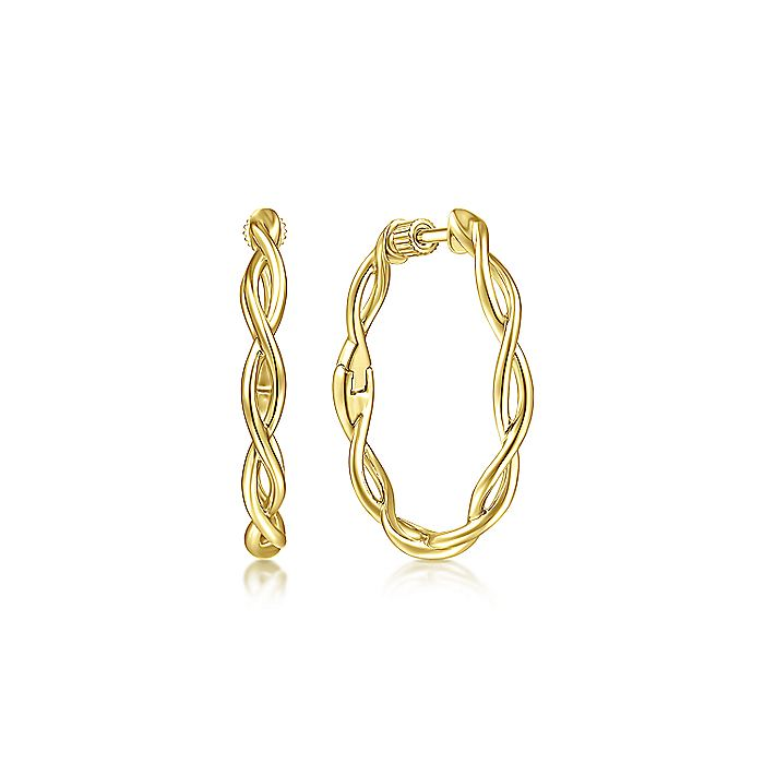 14K Yellow Plain Gold 25mm Twisted Round Hoop Earrings