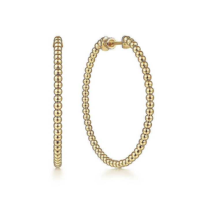 14K Yellow Plain Gold 40mm Beaded Round Hoop Earrings