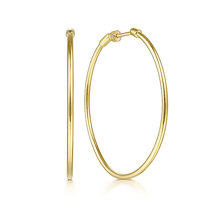 14K Yellow Plain Gold 40mm Round Classic Hoop Earrings