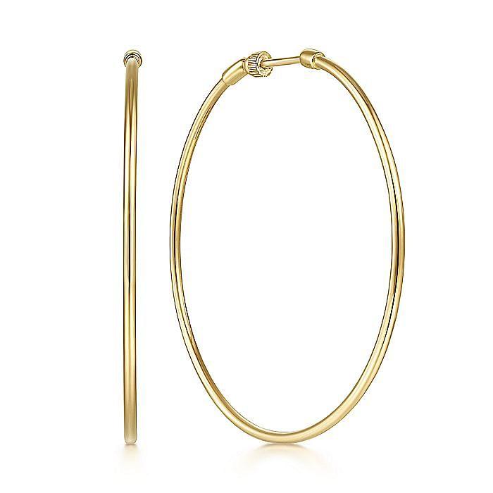 14K Yellow Plain Gold 50mm Round Classic Hoop Earrings