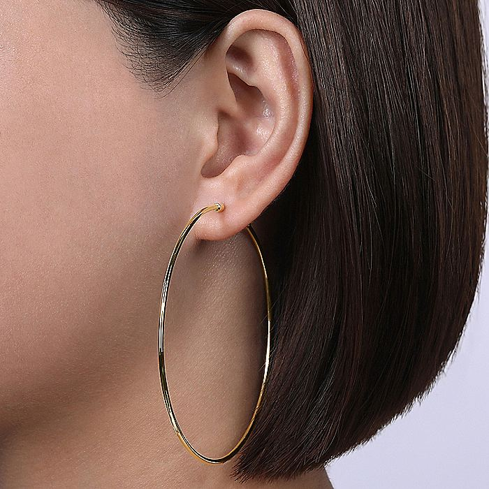 14K Yellow Plain Gold 70mm Round Classic Hoop Earrings