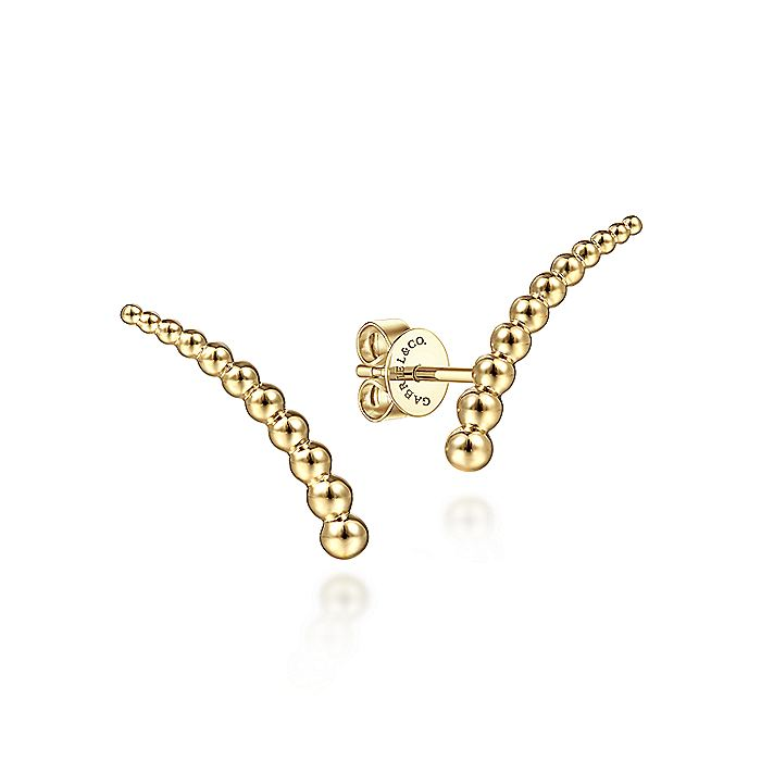 14K Yellow Plain Gold Stud Earrings